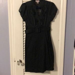 Junior's black and dotted dress.